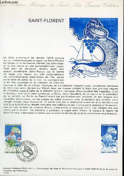 DOCUMENT PHILATELIQUE OFFICIEL N°10-74 - SAINT-FLORENT EN CORSE (N°1794 YVERT ET TELLIER)