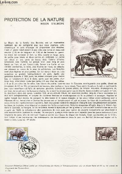 DOCUMENT PHILATELIQUE OFFICIEL N°11-74 - PROTECTION DE LA NATURE - LE BISON D'EUROPE (N°1795 YVERT ET TELLIER)