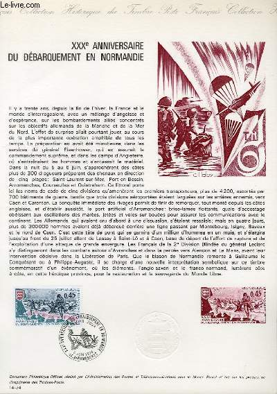 DOCUMENT PHILATELIQUE OFFICIEL N°14-74 - 30° ANNIVERSAIRE DU DEBARQUEMENT EN NORMANDIE (N°1799 YVERT ET TELLIER)