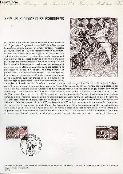 DOCUMENT PHILATELIQUE OFFICIEL N°15-74 - 21° JEUX OLYMPIQUES ECHIQUEENS (N°1800 YVERT ET TELLIER)
