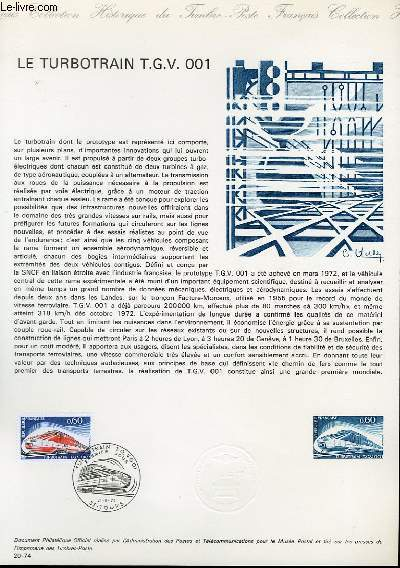 DOCUMENT PHILATELIQUE OFFICIEL N°20-74 - LE TURBOTRAIN T.G.V. 001 (N°1802 YVERT ET TELLIER)