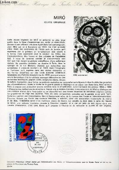 DOCUMENT PHILATELIQUE OFFICIEL N°22-74 - MIRO OEUVRE ORIGINALE - ARPHILA75'' (N°1811 YVERT ET TELLIER)