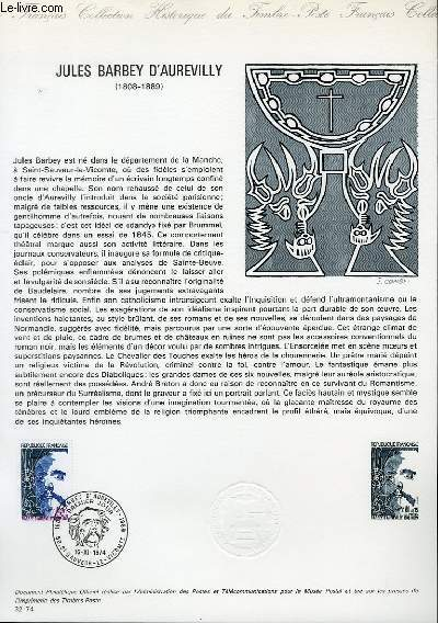 DOCUMENT PHILATELIQUE OFFICIEL N°32-74 - JULES BARBEY D'AUREVILLY (1808-1889) (N°1823 YVERT ET TELLIER)
