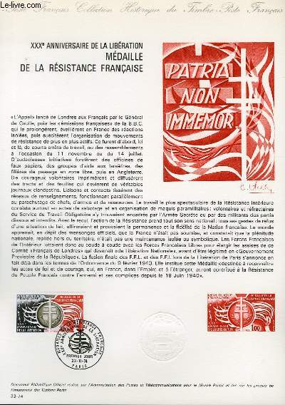 DOCUMENT PHILATELIQUE OFFICIEL N°33-74 - 30° ANNIVERSAIRE DE LA LIBERATION MEDAILLE DE LA RESISTANCE FRANCAISE (N°1821 YVERT ET TELLIER)