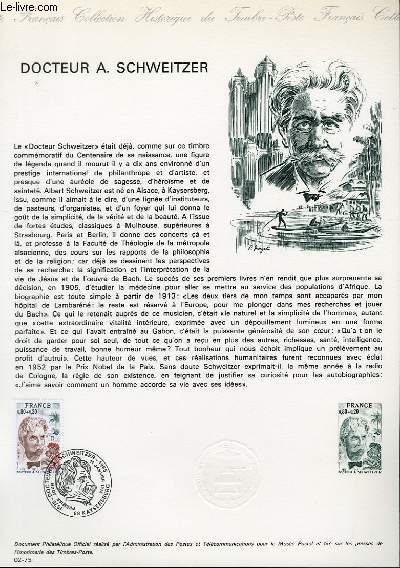 DOCUMENT PHILATELIQUE OFFICIEL N°02-75 - DOCTEUR A. SCHWEITZER (1875 - 1865) (N°1824 YVERT ET TELLIER)