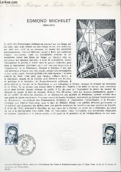 DOCUMENT PHILATELIQUE OFFICIEL N�06-75 - EDMOND MICHELET (1899-1970) (N�1825 YVERT ET TELLIER)