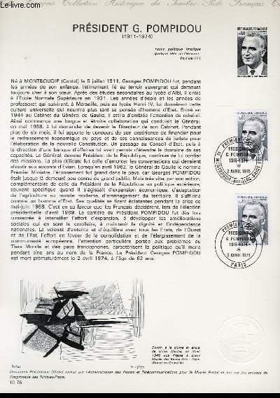 DOCUMENT PHILATELIQUE OFFICIEL N°10-75 - PRESIDENT G. POMPIDOU (1911-1974) (N°1839 YVERT ET TELLIER)