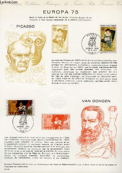 DOCUMENT PHILATELIQUE OFFICIEL N�12-75 - EUROPA 75 - PICASSO - VAN DONGEN (N�1840-41 YVERT ET TELLIER)