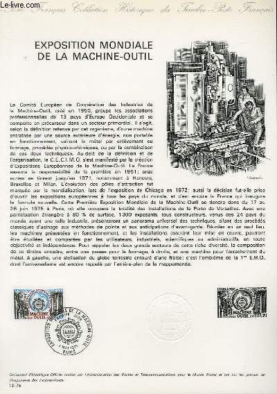 DOCUMENT PHILATELIQUE OFFICIEL N°13-75 - EXPOSITION MONDIALE DE LA MACHINE-OUTIL (CREE EN 1950) (N°1842 YVERT ET TELLIER)