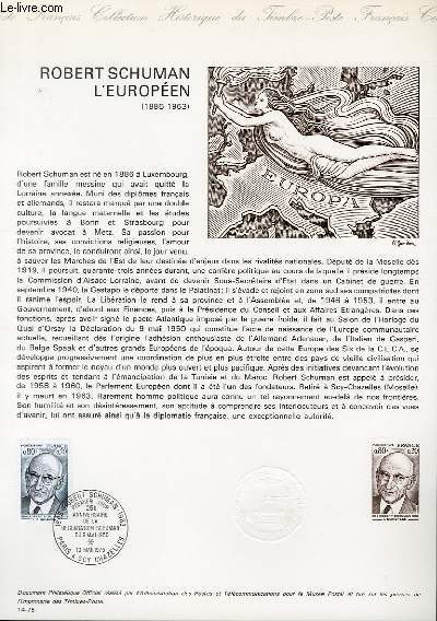 DOCUMENT PHILATELIQUE OFFICIEL N�14-75 - ROBERT SCHUMAN L'EUROPEEN (1886-1963) (N�1826 YVERT ET TELLIER)