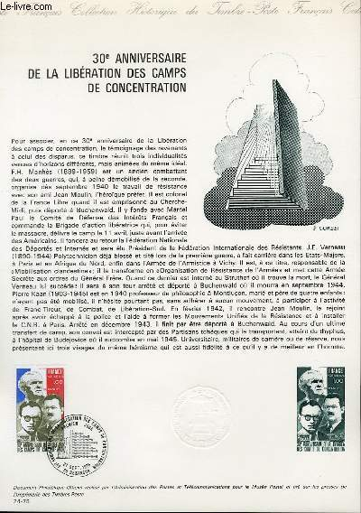 DOCUMENT PHILATELIQUE OFFICIEL N�24-75 - 30� ANNIVERSAIRE DE LA LIBERATION DES CAMPS DE CONCENTRATION (N�1853 YVERT ET TELLIER)