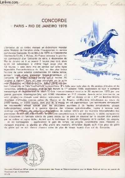 DOCUMENT PHILATELIQUE OFFICIEL N°01-76 - CONCORDE - PARIS - RIO DE JANEIRO 1976 (N°49 YVERT ET TELLIER)