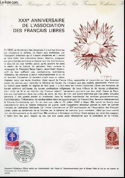 DOCUMENT PHILATELIQUE OFFICIEL N°18-76 - 30° ANNIVERSAIRE DE L'ASSOCIATION DES FRANCAIS LIBRES (N°1884 YVERT ET TELLIER)