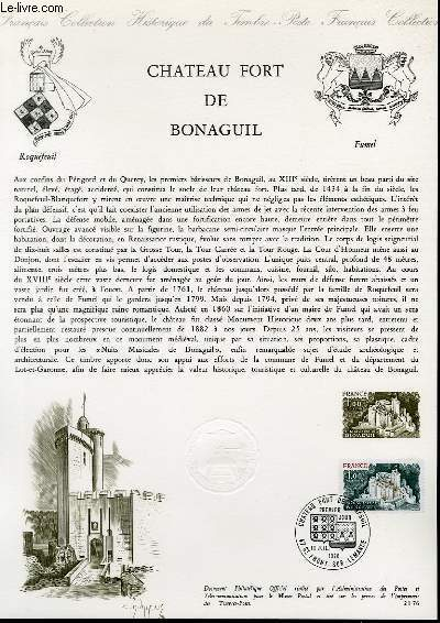 DOCUMENT PHILATELIQUE OFFICIEL N°21-76 - CHATEAU FORT DE BONAGUIL (N°1871 YVERT ET TELLIER)
