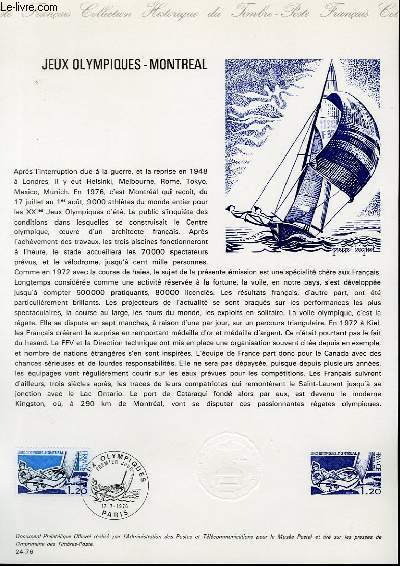 DOCUMENT PHILATELIQUE OFFICIEL N°24-76 - JEUX OLYMPIQUES-MONTREAL (N°1889 YVERT ET TELLIER)