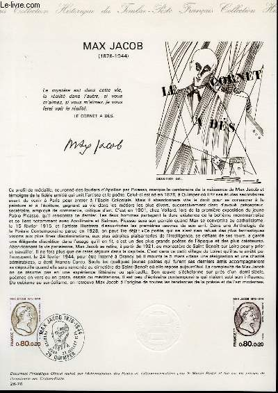 DOCUMENT PHILATELIQUE OFFICIEL N�26-76 - MAX JACOB (1876-1944) - (N�1881 YVERT ET TELLIER)