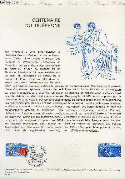 DOCUMENT PHILATELIQUE OFFICIEL N�35-76 - CENTENAIRE DU TELEPHONE (N�1905 YVERT ET TELLIER)