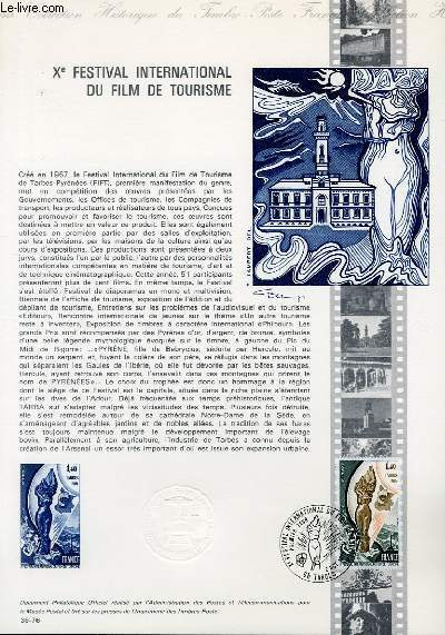 DOCUMENT PHILATELIQUE OFFICIEL N�36-76 - 10� FESTIVAL INTERNATIONAL DU FILM DE TOURISME (N�1906 YVERT ET TELLIER)