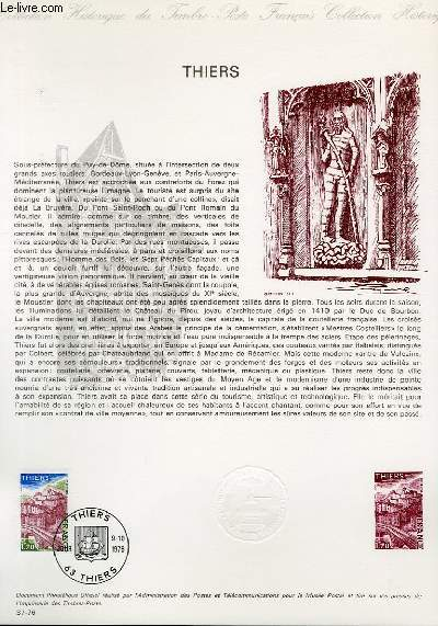 DOCUMENT PHILATELIQUE OFFICIEL N°37-76 - THIERS (N°1904 YVERT ET TELLIER)