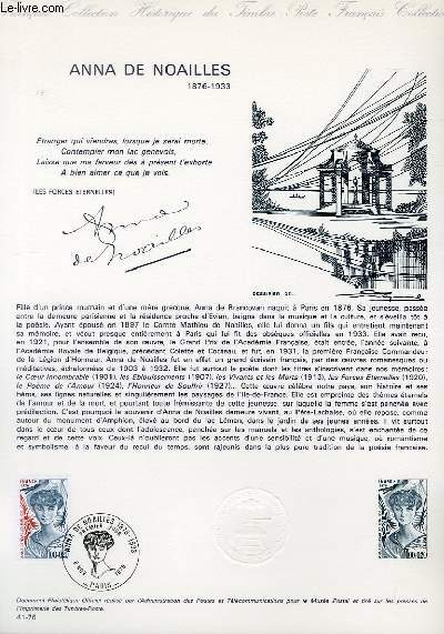 DOCUMENT PHILATELIQUE OFFICIEL N°41-76 - ANNA DE NOAILLES 1876-1933 (N°1898 YVERT ET TELLIER)