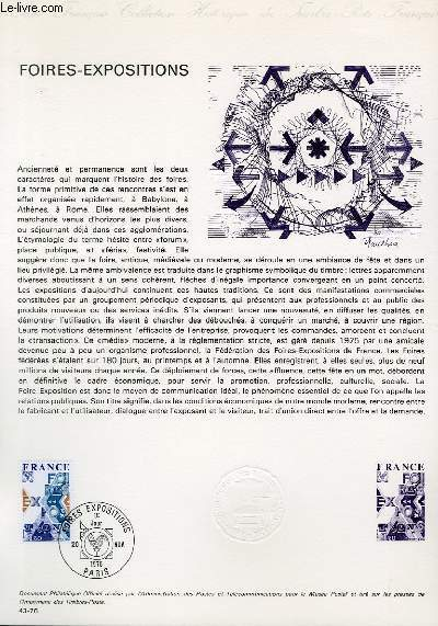 DOCUMENT PHILATELIQUE OFFICIEL N°43-76 - FOIRES-EXPOSITIONS (N°1909 YVERT ET TELLIER)
