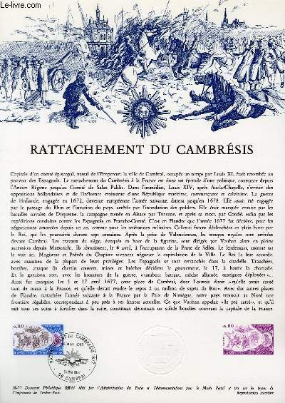 DOCUMENT PHILATELIQUE OFFICIEL N°18-77 - RATTACHEMENT DU CAMBRESIS (N°1832 YVERT ET TELLIER)