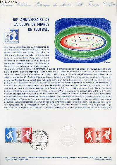 DOCUMENT PHILATELIQUE OFFICIEL N�25-77 - 60� ANNIVERSAIRE DE LA COUPE DE FRANCE DE FOOTBALL (N�1940 YVERT ET TELLIER)