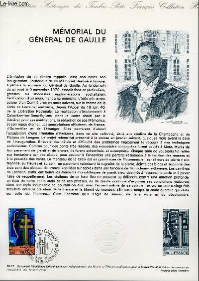 DOCUMENT PHILATELIQUE OFFICIEL N°26-77 - MEMORIAL DU GENERAL DE GAULLE (N°1941 YVERT ET TELLIER)