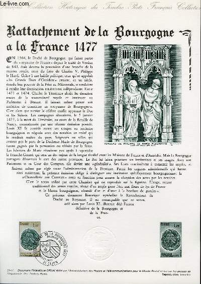 DOCUMENT PHILATELIQUE OFFICIEL N°29-77 - RATTACHEMENT DE LA BOURGOGNE A LA FRANCE 1477 (N°1944 YVERT ET TELLIER)