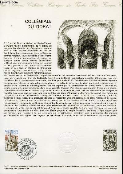 DOCUMENT PHILATELIQUE OFFICIEL N°32-77 - COLLEGIALE DU DORAT (N°1937 YVERT ET TELLIER)