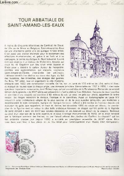 DOCUMENT PHILATELIQUE OFFICIEL N°35-77 - TOUR ABBATIALE DE SAINT AMAND LES EAUX (N°1948 YVERT ET TELLIER)