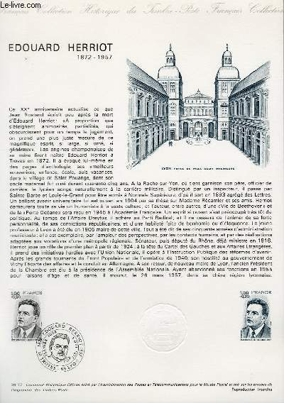DOCUMENT PHILATELIQUE OFFICIEL N�39-77 - EDOUARD HERRIOT 1872-1957 (N�1953 YVERT ET TELLIER)