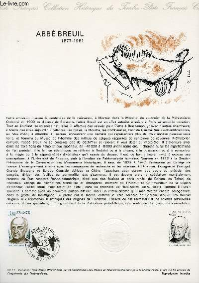 DOCUMENT PHILATELIQUE OFFICIEL N°40-77 - ABBE BREUIL 1877-1961 (N°1954 YVERT ET TELLIER)