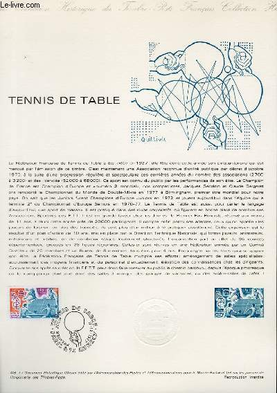 DOCUMENT PHILATELIQUE OFFICIEL N�48-77 - TENNIS DE TABLE (N�1961 YVERT ET TELLIER)