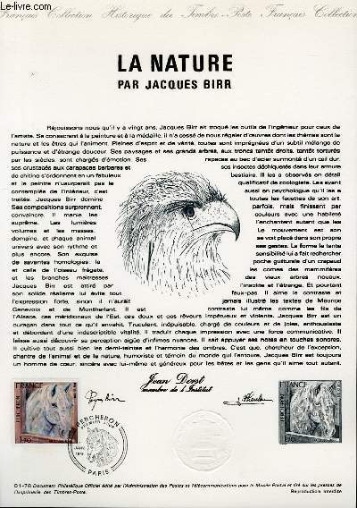 DOCUMENT PHILATELIQUE OFFICIEL N°01-78 - LA NATURE PAR JACQUES BIRR - PERCHERON (N°1982 YVERT ET TELLIER)