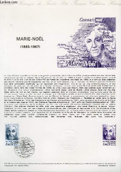 DOCUMENT PHILATELIQUE OFFICIEL N°07-78 - MARIE-NOEL 1883-1967 (N°1986 YVERT ET TELLIER)