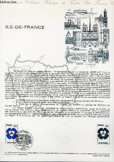 DOCUMENT PHILATELIQUE OFFICIEL N�12-78 - ILE DE FRANCE (N�1991 YVERT ET TELLIER)