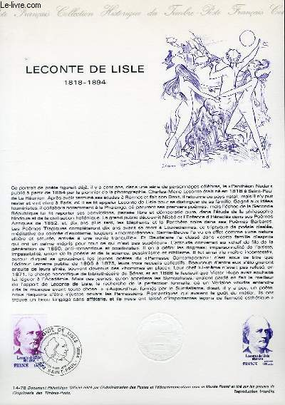 DOCUMENT PHILATELIQUE OFFICIEL N°14-78 - LECONTE DE LISLE 1818-1894 (N°1988 YVERT ET TELLIER)