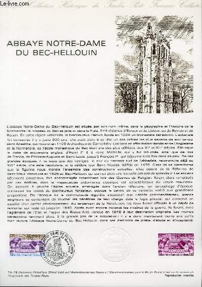 DOCUMENT PHILATELIQUE OFFICIEL N°15-78 - ABBAYE NOTRE-DAME DU BEC-HELLOUIN (N°1999 YVERT ET TELLIER)