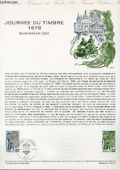 DOCUMENT PHILATELIQUE OFFICIEL N°18-78 - JOURNEE DU TIMBRE 1978 RELEVAGE EN 1900 (N°2004 YVERT ET TELLIER)