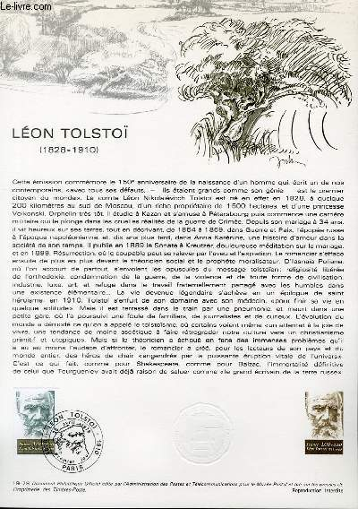 DOCUMENT PHILATELIQUE OFFICIEL N°19-78 - LEON TOLSTOI 1828-1910 (N°1989 YVERT ET TELLIER)
