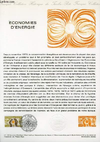 DOCUMENT PHILATELIQUE OFFICIEL N�21-78 - ECONOMIES D'ENERGIE (N�2006 YVERT ET TELLIER)