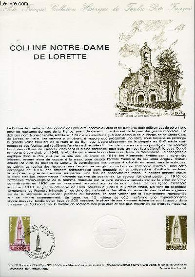 DOCUMENT PHILATELIQUE OFFICIEL N°23-78 - COLLINE NOTRE-DAME DE LORETTE (N°2010 YVERT ET TELLIER)