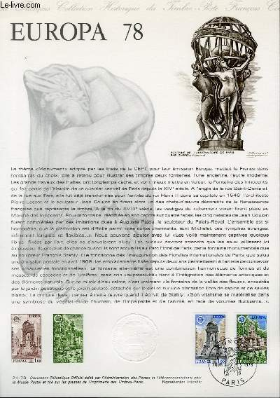DOCUMENT PHILATELIQUE OFFICIEL N°24-78 - EUROPA 78 (N°2008-09 YVERT ET TELLIER)