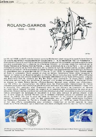 DOCUMENT PHILATELIQUE OFFICIEL N°27-78 - ROLAND-GARROS 1928-1978 (N°2012 YVERT ET TELLIER)