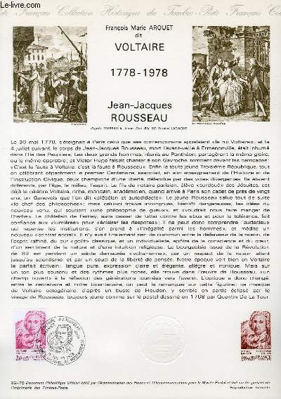 DOCUMENT PHILATELIQUE OFFICIEL N°32-78 - FRANCOIS MARIE AROUET DIT VOLTAIRE 1778-1978 - JEAN-JACQUES ROUSSEAU (N°1990 YVERT ET TELLIER)