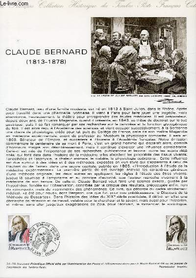 DOCUMENT PHILATELIQUE OFFICIEL N�34-78 - CLAUDE BERNARD 1813 - 1878 (N�1990A YVERT ET TELLIER)