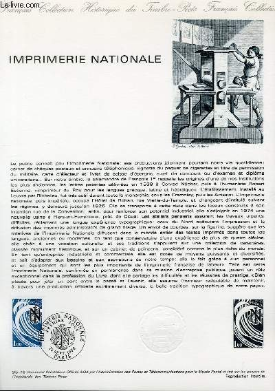DOCUMENT PHILATELIQUE OFFICIEL N�35-78 - IMPRIMERIE NATIONALE (N�2014 YVERT ET TELLIER)