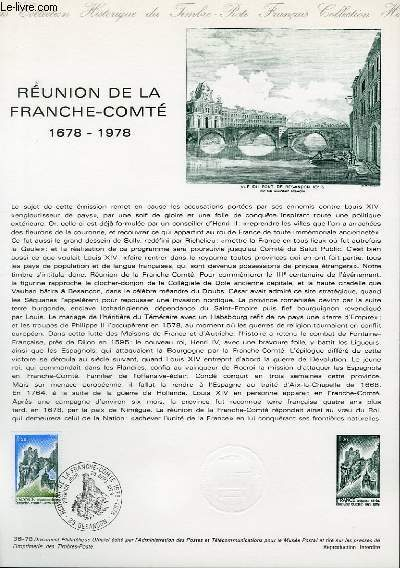 DOCUMENT PHILATELIQUE OFFICIEL N°36-78 - REUNION DE LA FRANCHE-COMTE 1678-1978 (N°2015 YVERT ET TELLIER)