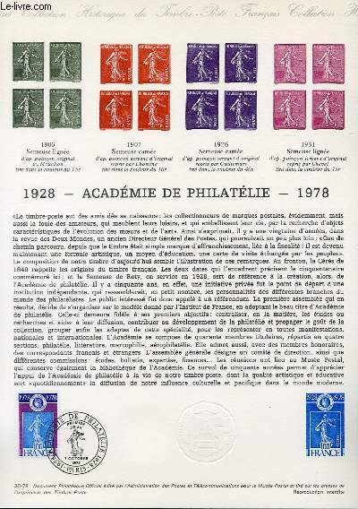 DOCUMENT PHILATELIQUE OFFICIEL N�38-78 - 1928 - 1978 ACADEMIE DE PHILATELIE
